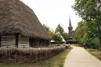 Romania-Bucharest-Dimitrie-Gusti-National-Village-Museum-Maramures-house-and-church