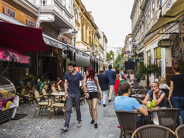 Bars and restaurants in Old Town, Centru Vechi, Bucharest, Romania, Europe