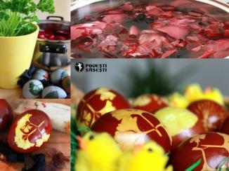 ouă vopsite în foi de ceapă roșie